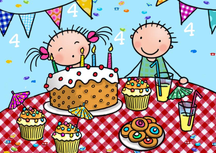 Verjaardagskaarten - Taartjes 4 jaar