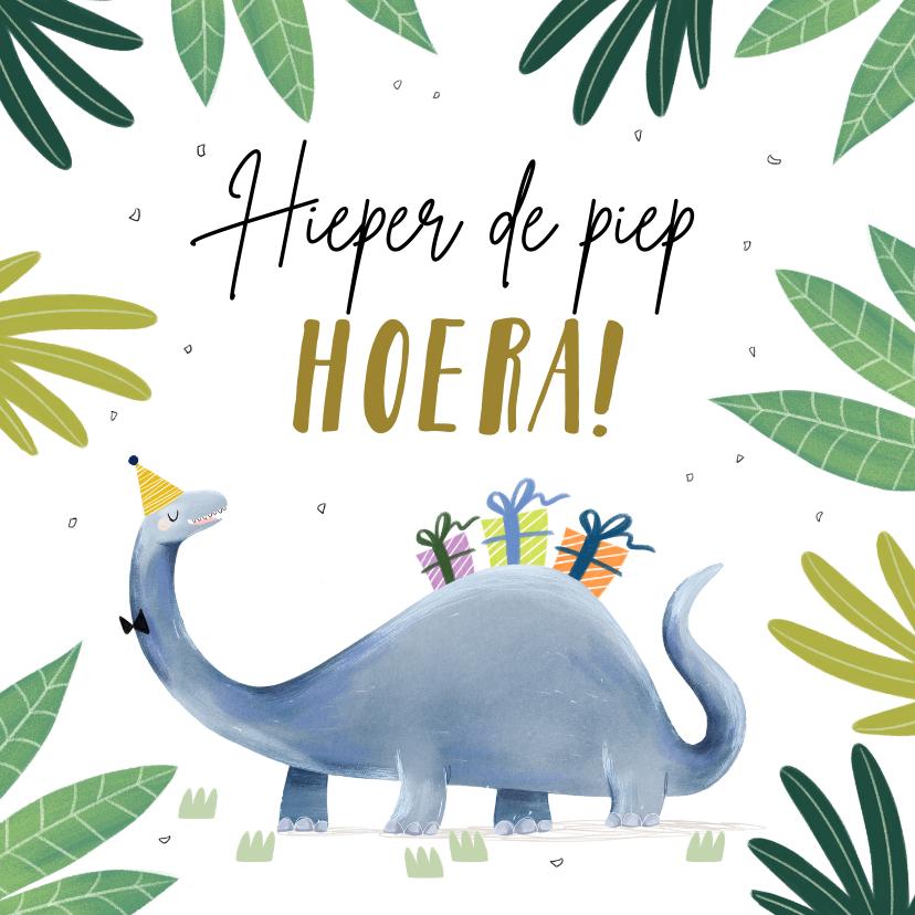 Verjaardagskaarten - Toffe verjaardagskaart met dinosaurus en kado's