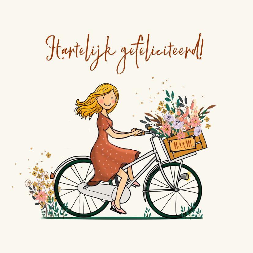 Verjaardagskaarten - Transportfiets met bloemen