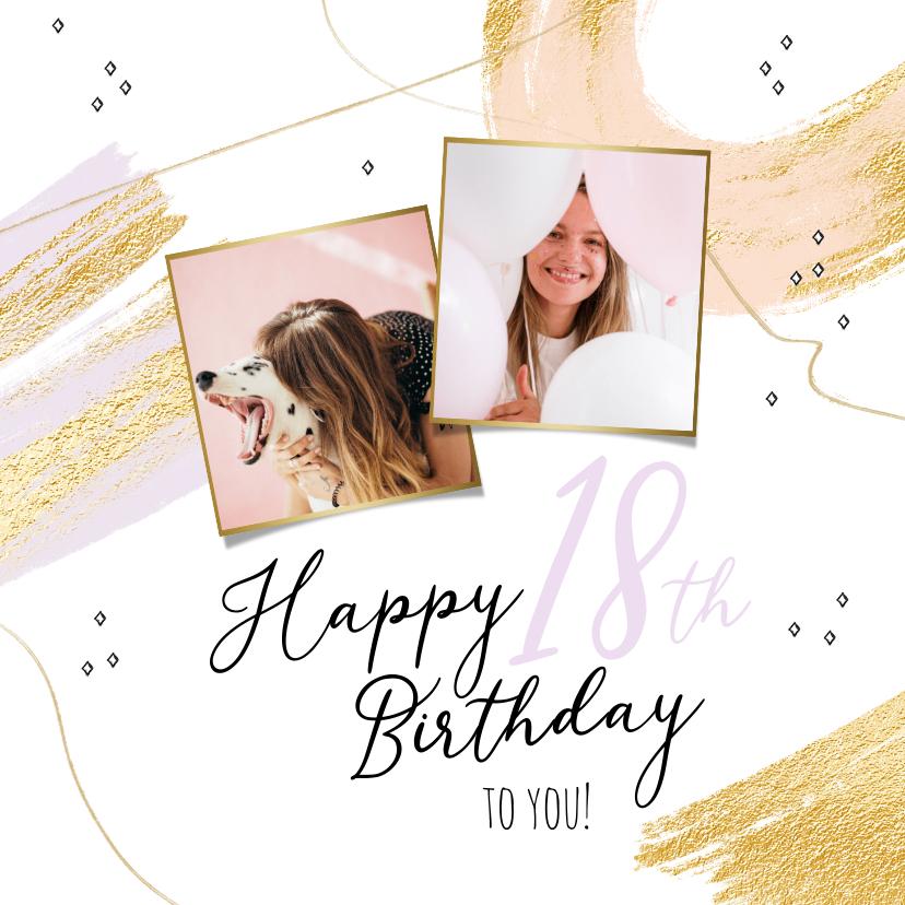 Verjaardagskaarten - Trendy kaart met abstracte vormen en goud