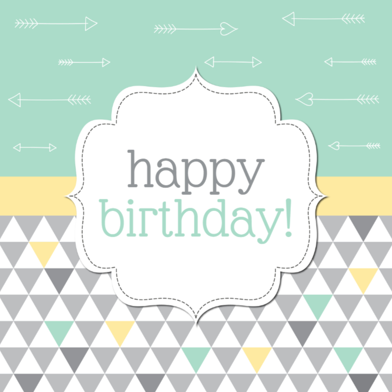 Verjaardagskaarten - Trendy Triangle - Happy Birthday