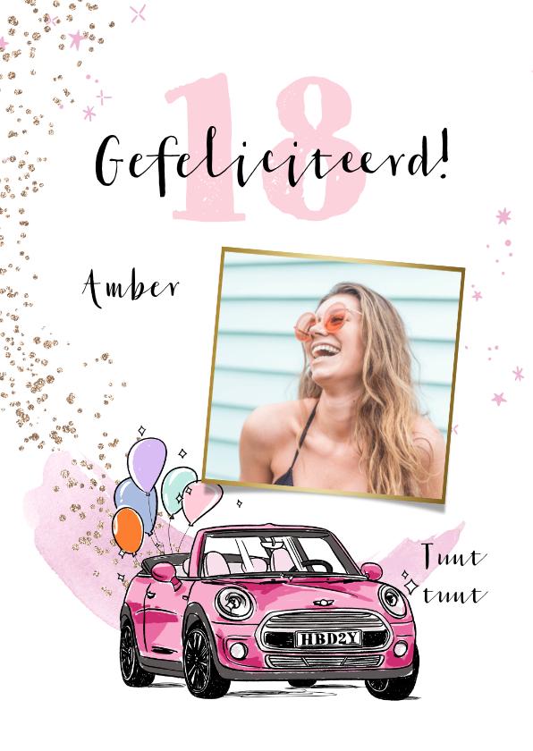 Verjaardagskaarten - Trendy verjaardagskaart met auto in roze en ballonnen