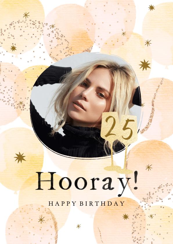Verjaardagskaarten - Trendy verjaardagskaart met ballonnen in warme tinten