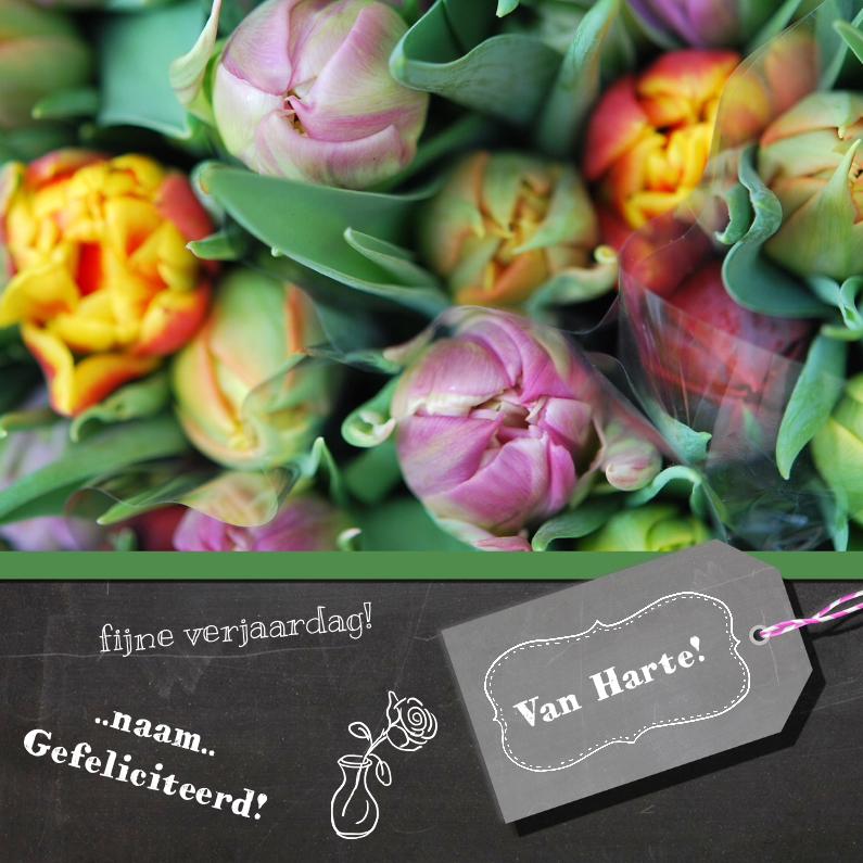 Verjaardagskaarten - Tulpen krijtbord
