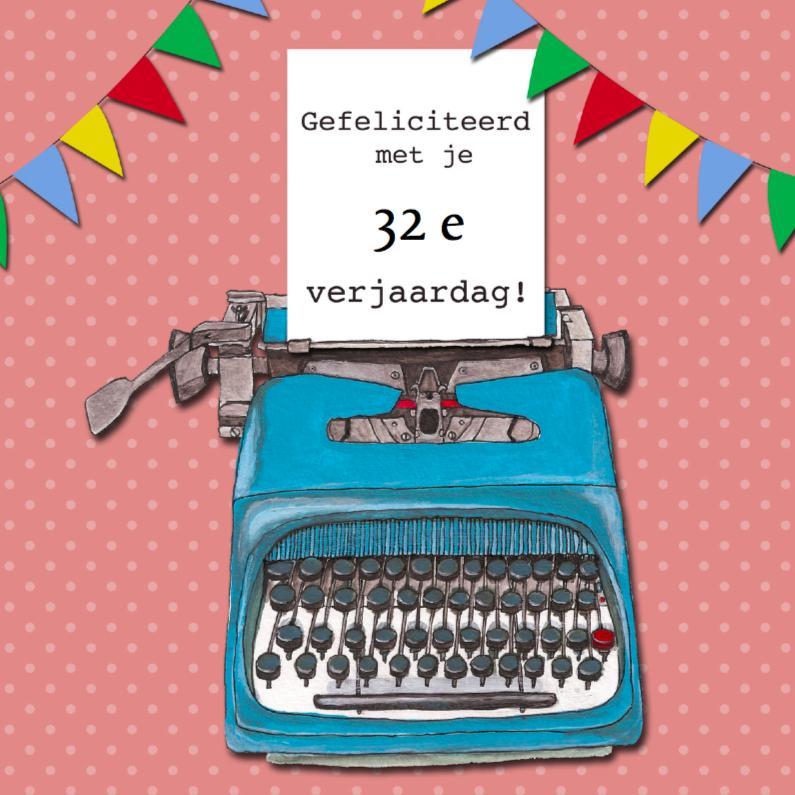 Verjaardagskaarten - Typemachine blauw verjaardag