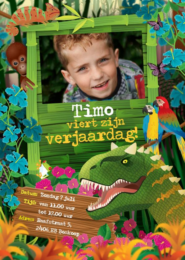 Verjaardagskaarten - uitnodiging partijtje jongen dinosaurus
