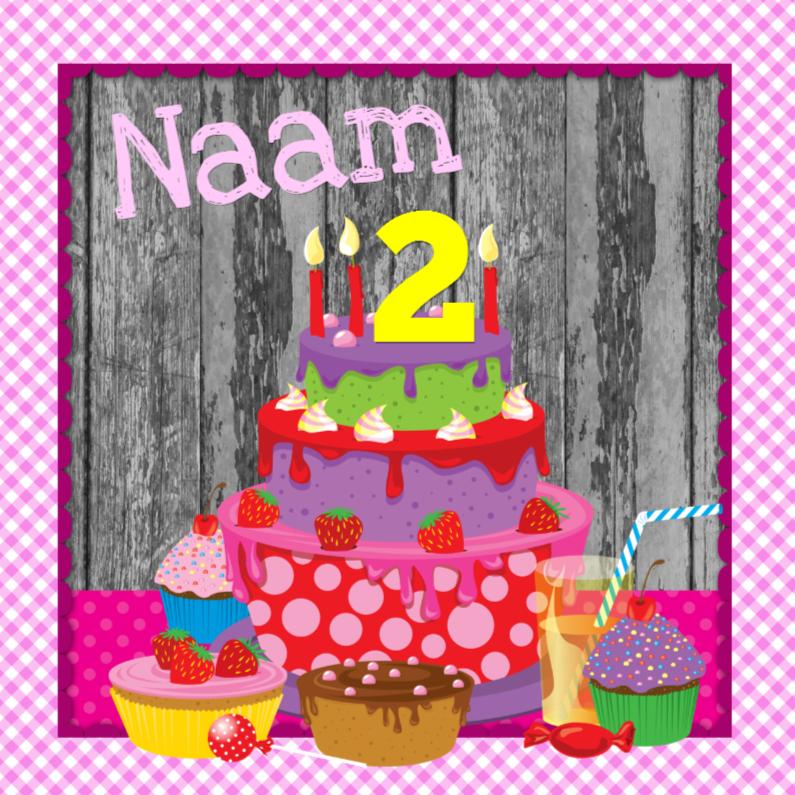 Verjaardagskaarten - uitnodiging taart eigen naam & leeftijd meisje