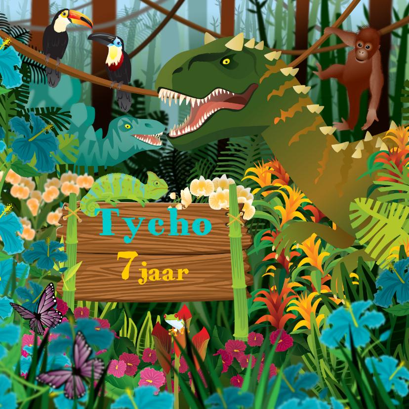 Verjaardagskaarten -  uitnodiging  verjaardag dinosaurus jongenskaart