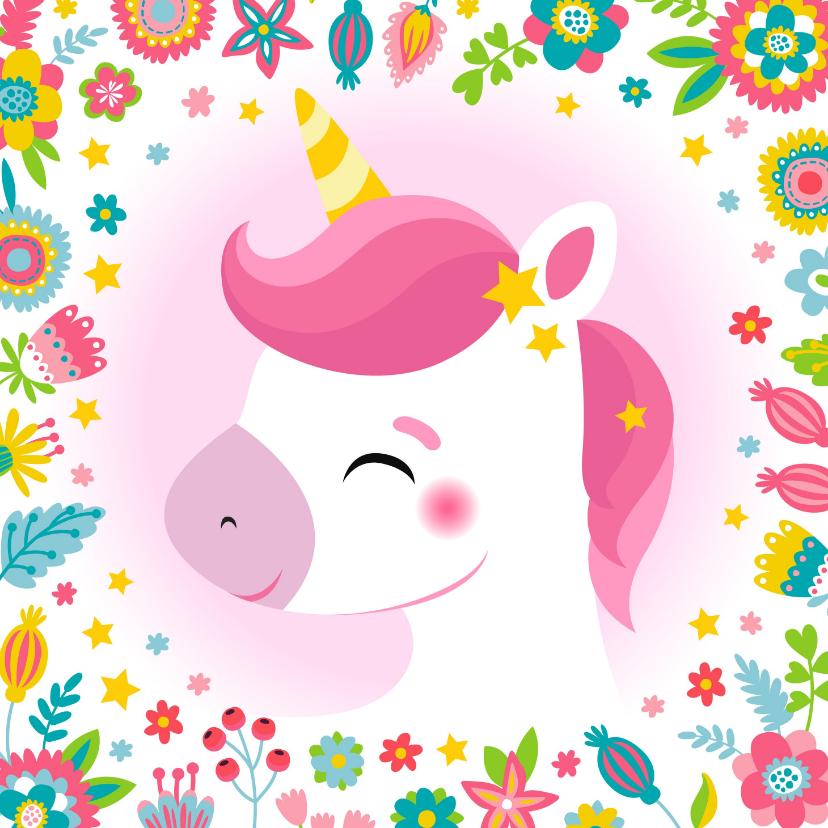 Verjaardagskaarten - Unicorn verjaardagskaart kind met bloemen en sterren