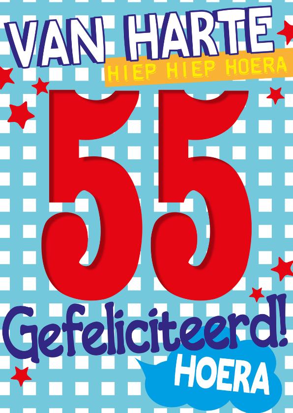 Verjaardagskaarten - van harte 55 jaar hoera -BF