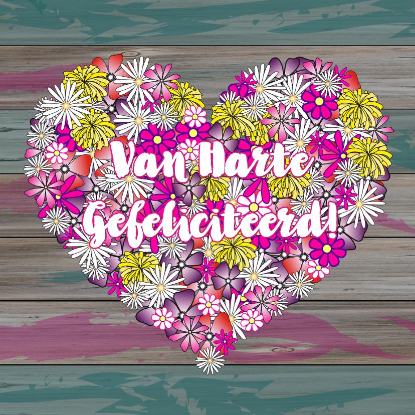 Verjaardagskaarten - Van HARTE hartje bloemen