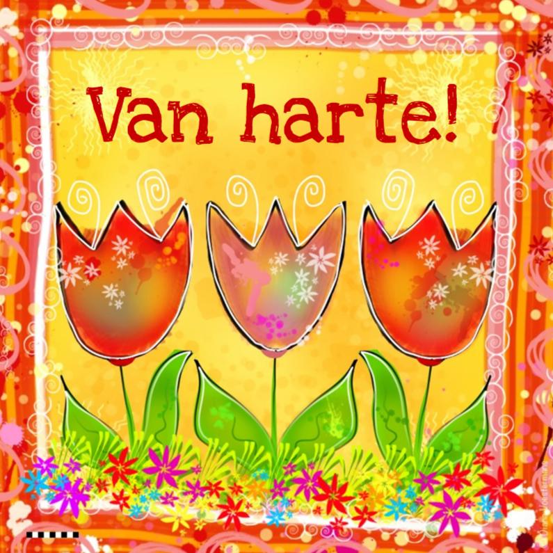 Verjaardagskaarten - Van Harte tulpen