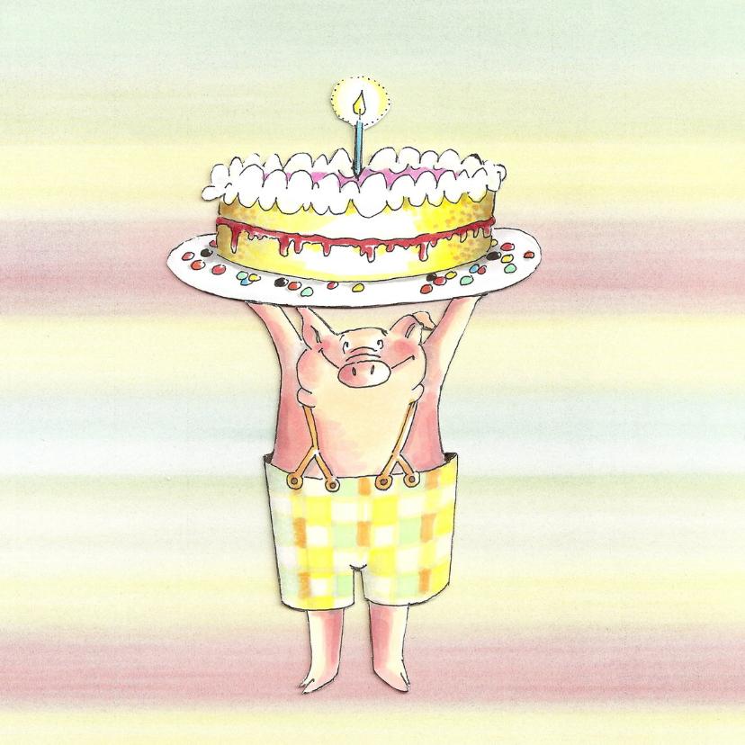Verjaardagskaarten - varkentje met taart III