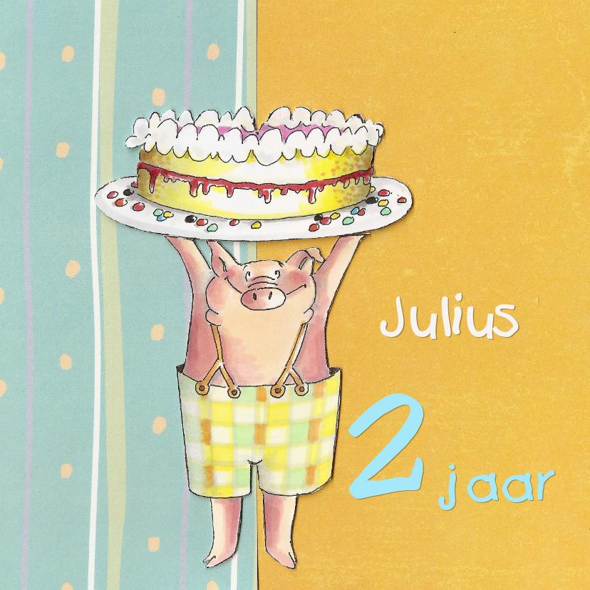 Verjaardagskaarten - Varkentje met taart V