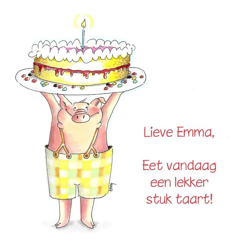 Verjaardagskaarten - Varkentje met taart