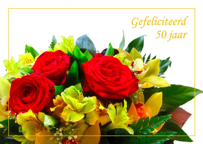 Verjaardagskaarten - Vejaardagskaart bos bloemen 50 jaar