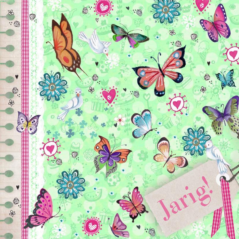 Verjaardagskaarten - Verjaardaag Vlinders stippen
