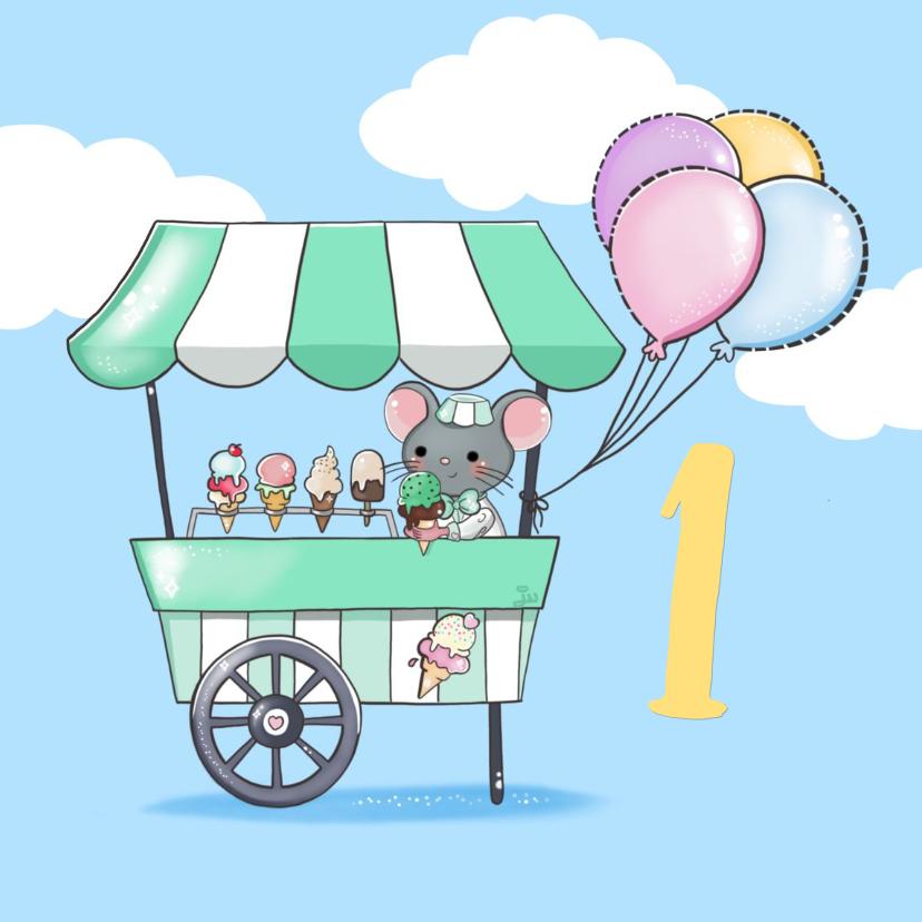 Verjaardagskaarten - Verjaardag 1 jaar. Ijswagentje