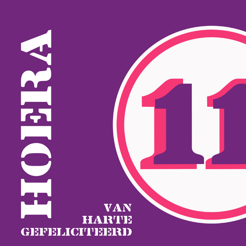Verjaardagskaarten - Verjaardag 11 jaar felicitatiekaart