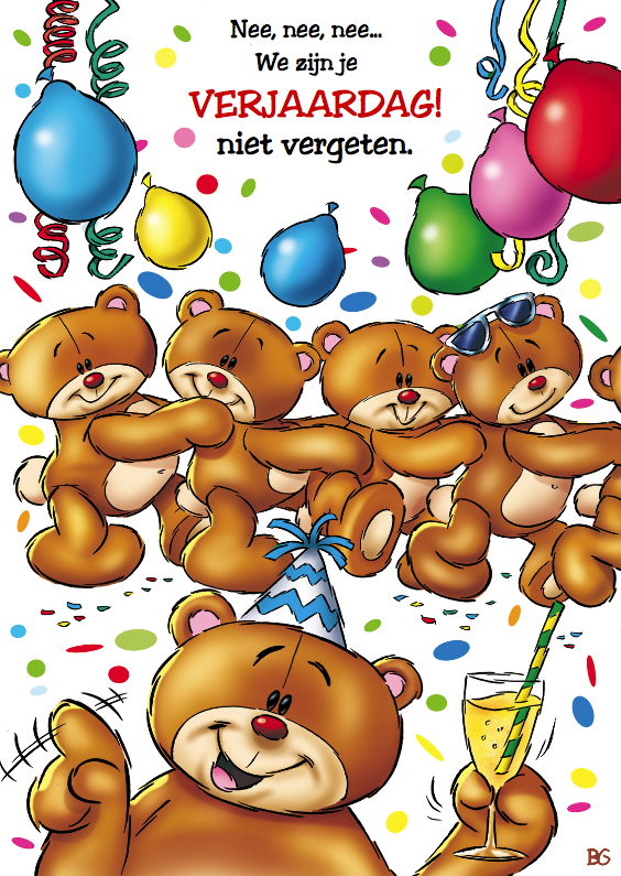 Verjaardagskaarten - verjaardag 16 feestende beren