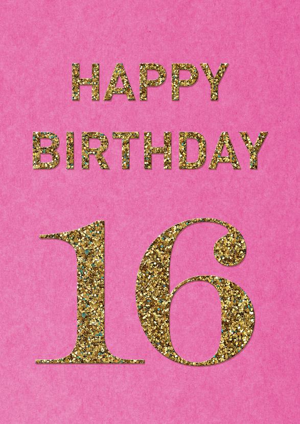 Verjaardagskaarten - Verjaardag 16 glitter
