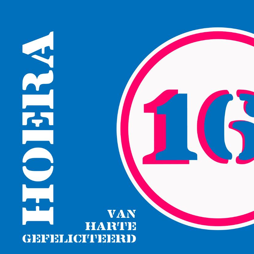 Verjaardagskaarten - Verjaardag 16 jaar felicitatiekaart