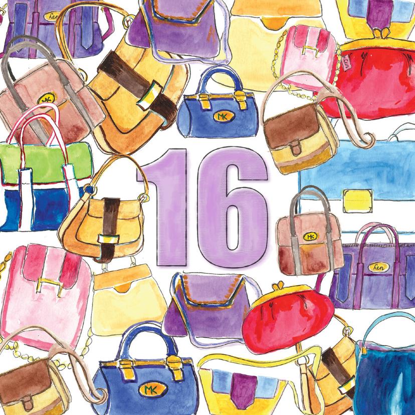 Verjaardagskaarten - Verjaardag 16 jaar tassen
