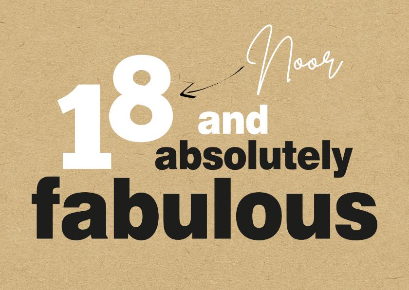 Verjaardagskaarten - Verjaardag 18 and absolutely fabulous