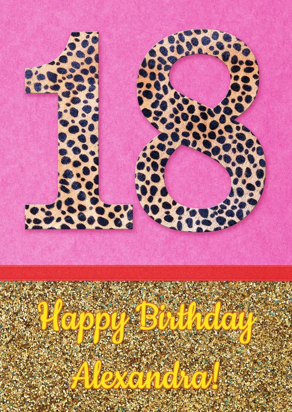 Verjaardag Glitter.Verjaardag 18 Glitter