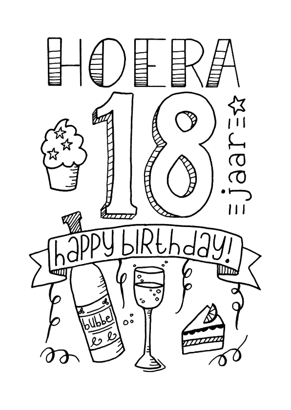 Verjaardagskaarten - Verjaardag 18 handlettering - TS