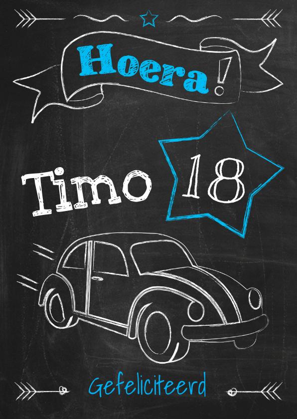 Verjaardagskaarten - Verjaardag 18 jaar rijbewijs-ByF