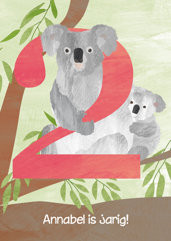 Verjaardagskaarten - Verjaardag 2 jaar - koala's