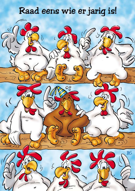 Verjaardagskaarten - verjaardag 25 grappige kippen op stok