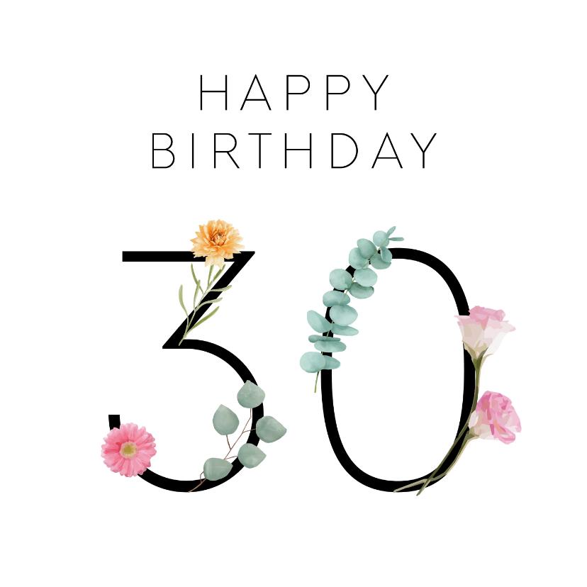 Verjaardagskaarten - Verjaardag 30 met bloemen