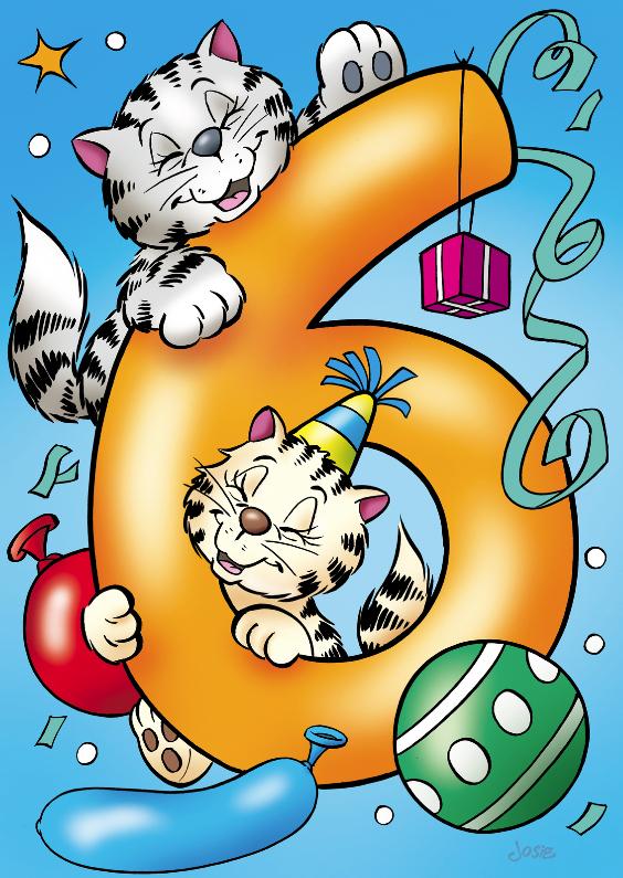 Verjaardagskaarten - verjaardag 33 poesjes cijfer zes