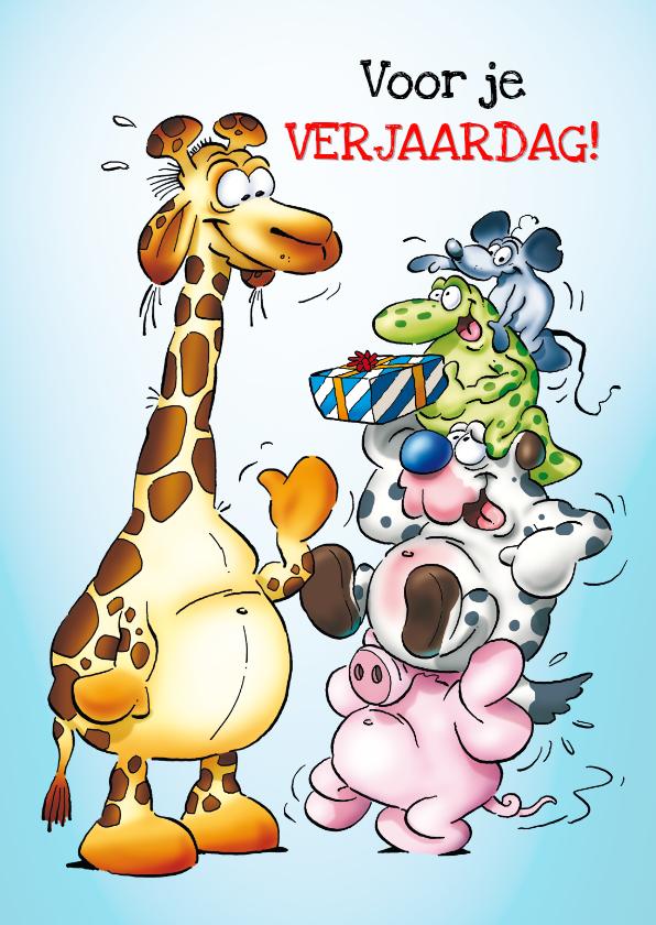 Verjaardagskaarten - Verjaardag 37 dieren staan op elkaar