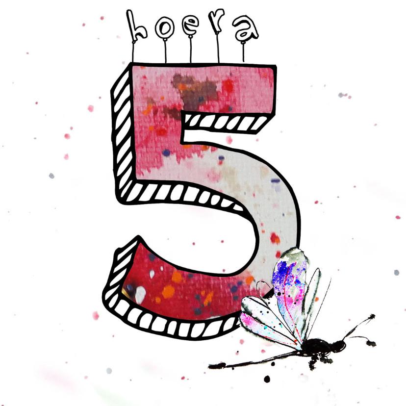 Verjaardagskaarten - verjaardag 5  jaar meisje