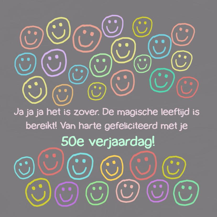 Verjaardagskaarten - Verjaardag 50 smileys  IW