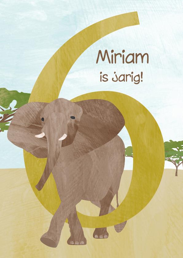 Verjaardagskaarten - Verjaardag 6 jaar met olifant