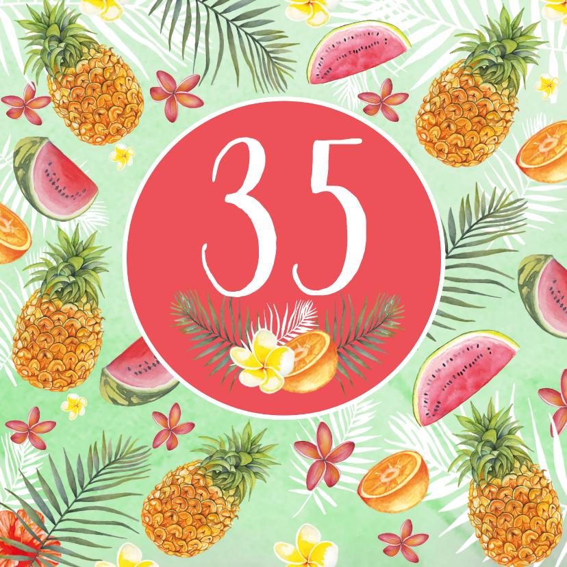 Verjaardagskaarten - Verjaardag ananas bloemen