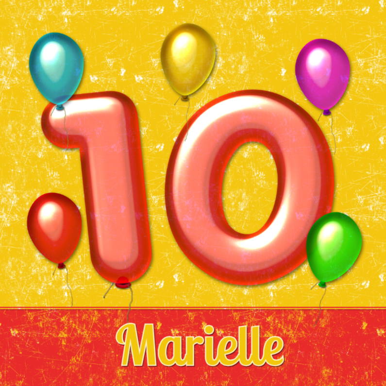 Verjaardagskaarten - verjaardag ballonnen 10 jaar