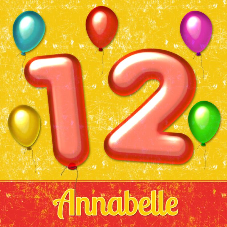 Verjaardagskaarten - verjaardag ballonnen 12 jaar