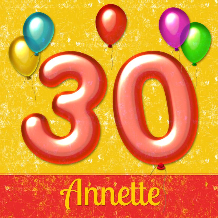 Verjaardagskaarten - Verjaardag ballonnen 30 jaar