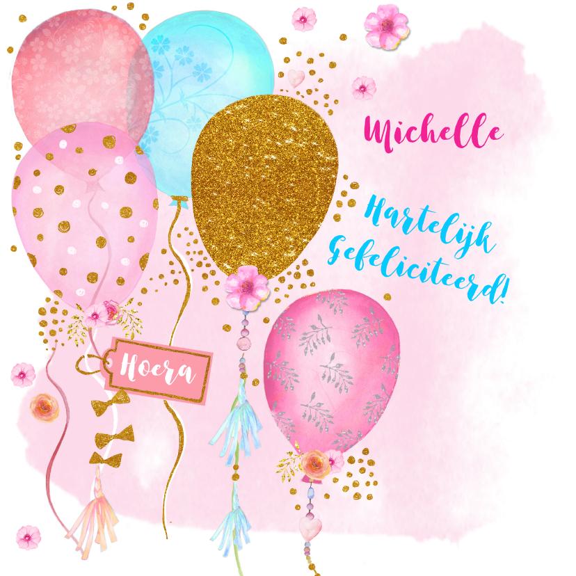 Verjaardagskaarten - Verjaardag ballonnen glitter