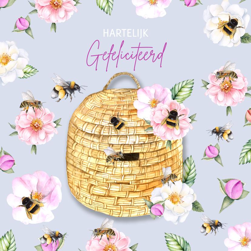 Verjaardagskaarten - Verjaardag bijtjes en bloemen