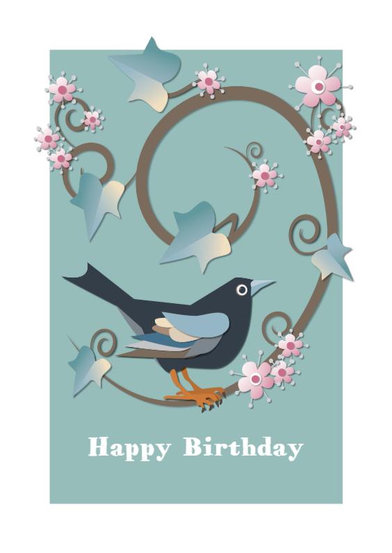 Verjaardagskaarten - Verjaardag-BlackbirdMintGreen-MW