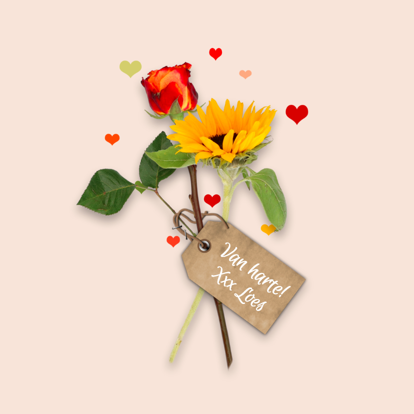 Verjaardagskaarten - Verjaardag bloemen en hartjes RB