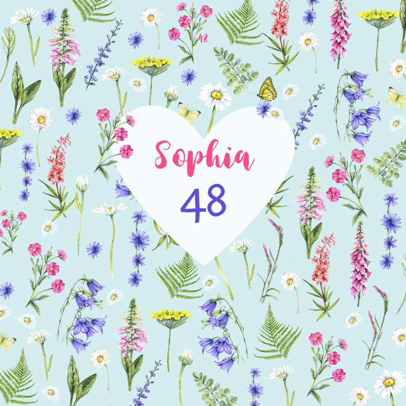 Verjaardagskaarten - Verjaardag bloemen en kruiden