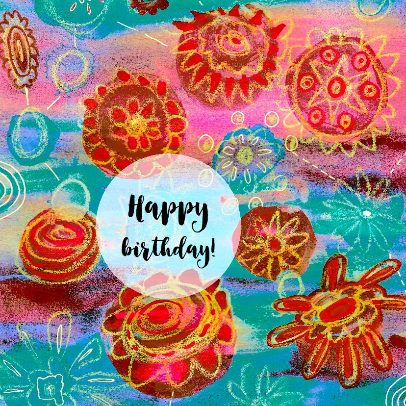 Verjaardagskaarten - Verjaardag bloemen kleurrijk - HR