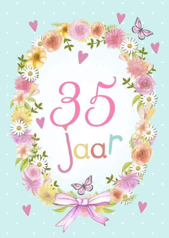 Verjaardagskaarten - verjaardag bloemenkrans jarig